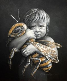 Protecting the honey bee is vital for our planet. Spread the message! Artwork by: Autumn Skye Art Top Imagem, I Love Bees, Bee Art, Bee Happy, Happy Fun, Save The Bees, Bees Knees, Queen Bees, Bee Keeping