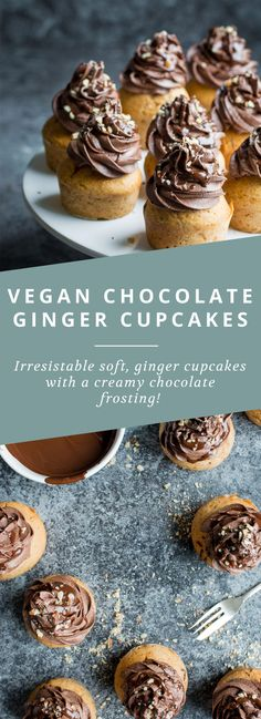 Vegan Chocolate and Ginger Cupcakes, Desserts, You would never know these delicious chocolate and ginger cupcakes are totally vegan! Brownie Desserts, Oreo Dessert, Mini Desserts, Coconut Dessert, Vegan Dessert Recipes, Cupcake Recipes, Baking Recipes, Cupcake Cakes, Cupcake Ideas