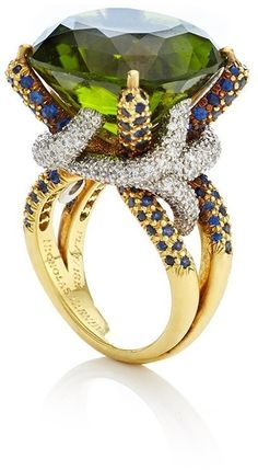 Nicholas Varney One Of A Kind Peridot, Sapphire, And Diamond Horst Ring