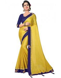 Lemon Yellow Satin Silk Saree