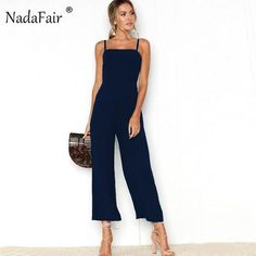 061ccfc527fc Nadafair Sleeveless Backless Women Summer Jumpsuit Wide Leg Pants Casual  Loose Rompers Sexy Party Club Strap Jumpsuit