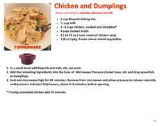 Tupperware Pressure Cooker Recipes, Microwave Pressure Cooker, Tupperware Recipes, Pressure Cooking, Pressure Pot, Mug Cake Microwave, Microwave Recipes, Chicken And Dumplings, Cream Of Chicken Soup