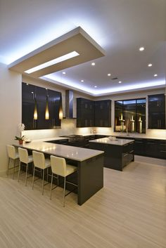 Modern Kitchen Lights Exhaust Fans Pin By Thierry Panaja On My Remodel Contemporary With Wrap Around Bar Large Island And Led Back Lit Recessed