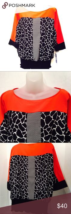 ❤NWT❤️ Peter Nygard red black top Peter Nygard sz 10. Absolutely beautiful. 💯 polyester. peter nygard Tops