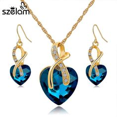 Cheap jewellery set, Buy Quality jewellery sets for women directly from China set for women Suppliers: SZELAM 2016 Crystal Heart Necklace Earrings Jewellery Set for Women Bridal Wedding Accessories SET140044