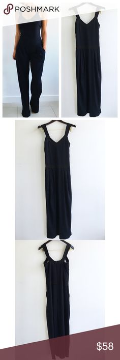 "French Connection Navy and Black Jumpsuit French Connection Navy Jumpsuit! This jumpsuit will make you feel relaxed and confident! Effortless chic look. Super comfortable. Wide leg. Navy overall with black silky chunky stripe on sides,waist, and straps. Excellent condition, hem has subtle signs of wear. Has invisible side pockets. Polyester acetate blend. Lining super soft and silky to touch. Concealed back zipper. Measurements Chest- 32"" waist-31"" hips-38"" length-59"" inseam-30.5"" (model…"