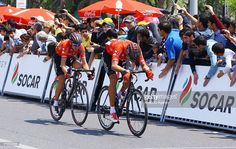 Cyclists are seen during on the last day of the cycling race 'Tour d'Azerbaidjan' on May 10, 2015 in Baku, Azerbaijan.