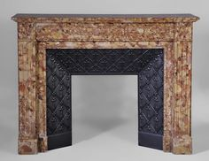 Antique Louis XVI style mantel in Breche d'Alep marble with its cast iron insert