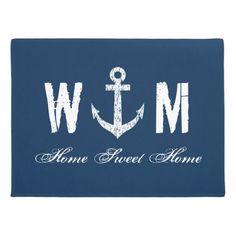 Nautical anchor monogram letter navy blue door mat More nautical themed gifts and decor at http://nauticalgiftsdecorweddings.dramaticallycorrect.com/