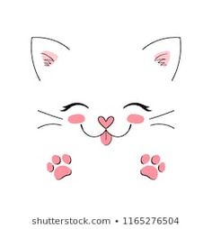 Cat stock images, vector images and vector images - Cat Stock Images, Stock Images & Vector Images Simple Cat Drawing, Kitty Drawing, Drawing Art, Cute Cat Drawing, Drawing Eyes, Manga Drawing, Hipster Drawings, Easy Drawings, Pencil Drawings