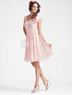 A-line V-neck Sleeveless Knee-length Chiffon Bridesmaid Dress - USD $ 99.99