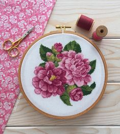 Have a great week, friends! My peony … – Embroidery Desing Ideas Cross Stitching, Cross Stitch Embroidery, Cross Stitch Designs, Cross Stitch Patterns, Simple Cross Stitch, Hand Embroidery Designs, Needlework, Crochet, Sewing