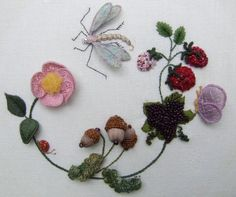 Dragonfly Wreath Stumpwork Kit by on Etsy Embroidery Patterns Free, Silk Ribbon Embroidery, Crewel Embroidery, Embroidery Thread, Embroidery Designs, Brazilian Embroidery, Quilt Stitching, Cross Stitching, Embroidery Techniques
