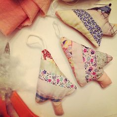 Christmas tree ornaments from fabric scraps or an old quilt