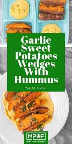 Garlic Sweet Potato Wedges With Hummus - Meal Prep on Fleek™ Vegan Meal Prep, Lunch Meal Prep, Easy Meal Prep, Easy Meals, Dinner Meal, Quick Dinner Recipes, Lunch Recipes, Healthy Recipes, Party Recipes