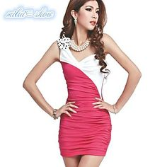 Women's Right Shoulder Strap Contrast Color Dress