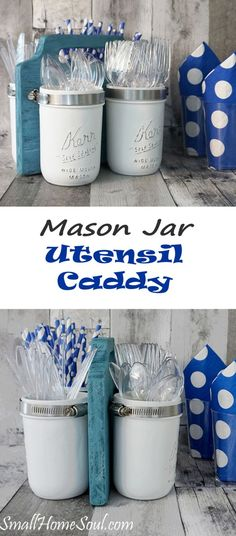 This awesome Mason Jar Utensil Caddy is perfect for a big BBQ or a potluck with family and friends. It's not difficult to create your own using the tutorial at http://www.smallhomesoul.com.