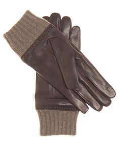 Men's Italian Leather Gloves with Cashmere Lining and Cuff