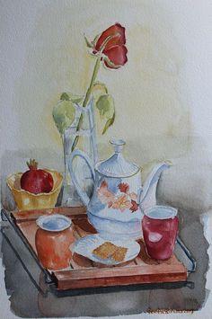 Buy Tea break, Watercolor by Geeta Biswas on Artfinder. #stilllife #watercolor #teapot #teabreak #rose #morning #teacup #art #geetabiswas #emergingartist #originalart #gifts #artforsale #pomegranate #under$300 #artfinder