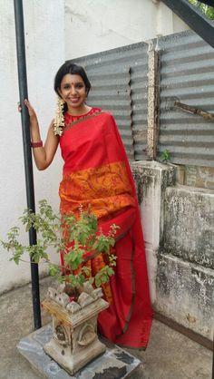 Kanchipuram silk with Block print from Aavaranaa