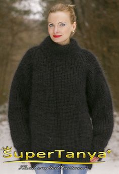 SuperTanya black polo mohair sweater 100% handmade by supertanya
