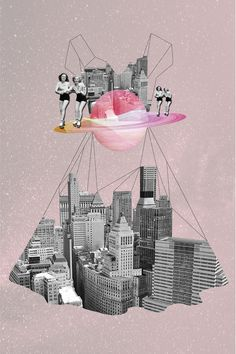 her series of striking collages, Istanbul-based illustrator Ceren Kilic uses mixed media to create other-worldly dreamscapes. Utilising a pastel colour palette, the images convey a sense of adventure. Collage Design, Design Art, Collage Ideas, City Collage, Collage Collage, Image Collage, Photomontage, Nostalgia Art, Magazine Collage