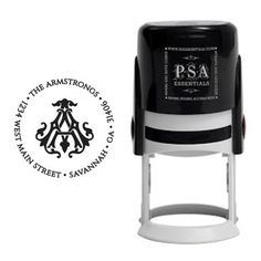 Please allow 15 days for order processing and manufacturing. Self-inking Return Address Stamps Designed by Emily McCarthy, exclusively for PSA Essentials. Monogrammed Stationery, Signature Stamp, Black Ink Cartridge, Colored Envelopes, Address Stamp, Greek Key, Custom Stamps, Party Signs, Return Address