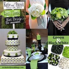 Black, White and Green Wedding Colors  | #weddingcolors