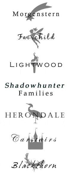 A few of the Shadowhunter Families ~