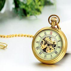 Regalo de Papá Día del Padre Jewelrywe Retro Sencillo Reloj de Bolsillo  Mecánico Dorado 059570e716ca