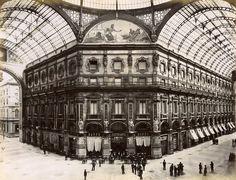 Restaurant in Victor Emmanuel Gallery Milano Italy Old Photo 1880