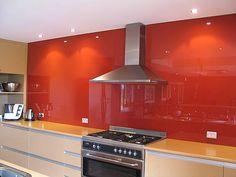 Photos of glass kitchen & bathroom tops & splashbacks - Ultra Living UK Red Kitchen, Glass Kitchen, Coloured Glass Splashbacks, Back Painted Glass, Slumped Glass, Kitchen Organisation, Laminated Glass, Shower Surround, Red Tiles