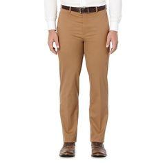 Men's Savane Executive Khaki Straight-Fit Performance Pants, Size: 38X34, Med Brown