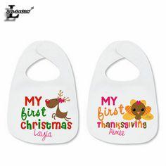 "Hot Sale ""My First Christmas"" Kawaii Cartoon Printed Baby Bibs Hipster Easiness Elastic Towels Baby Scarf Bandana Apron Bib K366"