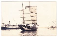 """BC – VICTORIA, Chinese Junk """"Amoy"""" Arriving from Shanghai, SS Charmer c1922 RPPC"""