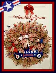 PATRIOTIC WREATH; GIFT IDEAS; COUNTRY DECOR; WREATHS; Military homecoming; Military Veterans Gifts; Veterans; Christmas gifts for veterans; Gifts for Veterans; Patriotic Gifts; SUPPORT OUR TROOPS;  Military; retirement gift; man cave decor; farmhouse style decor; farmhouse decor;Christmas Gift Ideas.  #airforce #marines #navy #army #supportourveterans #veterans #usmilitary #supportthetroops #giftsforveterans #standforouranthem #forveterans #llovemyveteran #militarylove #militarylife #patriot