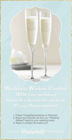 """You could #win your #wedding flutes & cake server set! 1. Follow #ThingsRemembered on Pinterest. 2. Repin your favorite set from our """"Wedding Wishes"""" board to your wedding board. 3. Repin this contest information pin. Rules in the board description! Ends 2-28-15!"""