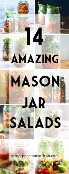 14 Amazing Mason Jar Salads...healthy make-ahead work lunch ideas!