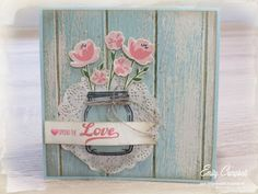 handmade love card from Tiny Kiwi Cards ... jar with flowers ... shabby chic styling ... luv the photoprint painted and weathered wood slat background ... Stampin' Up!
