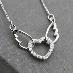 【Register to get $5 Coupon】Adorable Heart with Angel Wings Silver Pendant