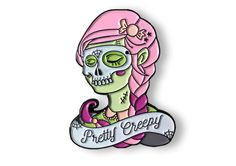 """Collaboration with Pretty Candy Pin Company!Instagram @prettycandypincompany----------------------The perfect amount of flair for Halloween. This soft enamel pin will make sure you're both hauntingly beautiful and ghoulishly glamorous. Nothing  else will come close to curing that sweet-tooth. Limited Edition Collector's ItemApproximately 1.75"""" x 1.34"""" Soft Enamel, Nickel Lapel Pin Two Rubber ClutchesFree Cult Fiction Press Sticker with Pur..."""