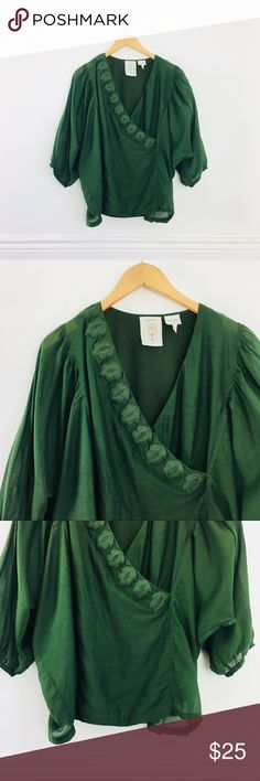 """Anthropologie Meadow Rue blouse Deep forest green wrap blouse by Meadow Rue. Surplice v-neck with embroidery and ruched batwings. Knit back. Semi-sheer. Cotton and silk. Size S. Runs big, like a M. Length 24"""". In excellent used condition. Anthropologie Tops Blouses"""