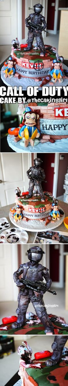 Call of Duty Cake  www.thecakinggirl.ca  (Black Ops, Advanced Warfare, Zombies, Soldiers, Monkey bombs, Energy Drinks)