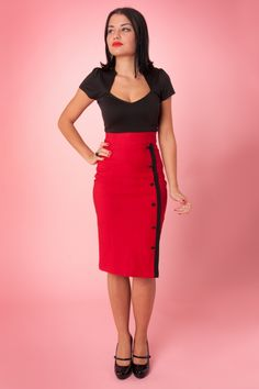 The Sarina Button Slit pencil skirt red from Steady Clothing. Small American high quality clothing label. Add a little Va Va to your wardrobe with this sexy red pencil skirt! The skirt is fitted with black buttons and trim along the left side and is finished with a slit above the left leg. Made of a stretchy bengaline which will hug your curves!On the last picture: via Facebook The Hot Biscuits!