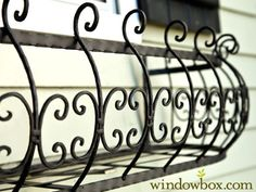 Parisian Window Box Get the look of antique iron window boxes, without the traditional dangers and rust, delivered to your door. The Parisian Iron Window Box Cage are a curved window box design is here by demand! Wrought Iron Window Boxes, Metal Window Boxes, Window Box Flowers, Wrought Iron Decor, Metal Wall Planters, Window Planter Boxes, Concrete Planters, Iron Balcony, Balcony Grill