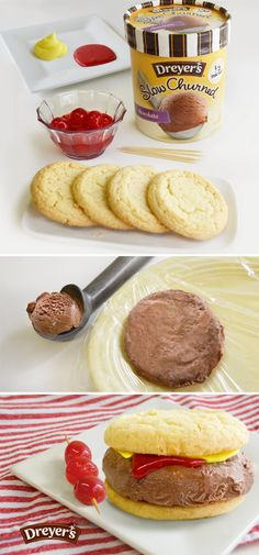 Dreyer's Ice Cream Burgers: Who says burgers need to be grilled? Make these cool and simple ice cream burgers this summer! All you need is sugar cookies for the buns, colored frosting for ketchup and mustard and chocolate ice cream for the burger patty!