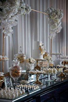 Example of dessert table setup Wedding Candy Table, Wedding Desserts, Wedding Cakes, Wedding Decorations, Dessert Buffet, Candy Buffet, Desert Table, Cake Table, Bridal Shower