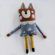 Plush Fox Softie - Handmade Soft Toy, Cuddly Fleece blue strawberry dress