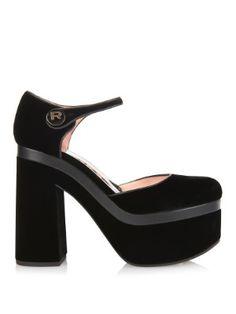 Block-heel and platform velvet pumps   Rochas   MATCHESFASHION.COM US