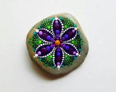 Hand Painted Wood Magnet Dot Art Pointillism by P4MirandaPitrone